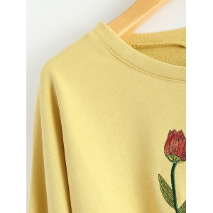 Round Neck Floral Embroidered Side Slit Sweatshirt -