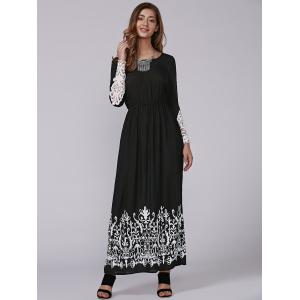 Autumn Openwork Lace Arab Print Maxi Dress -