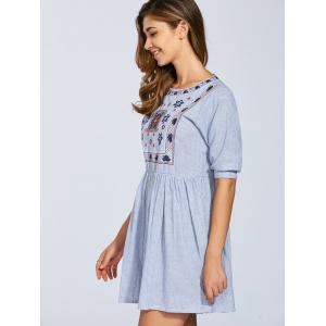 Half Sleeve Embroidered Striped Dress -