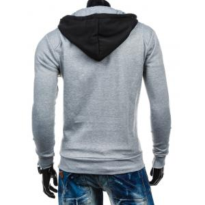 Color Block Spliced Zip-Up Hoodie - LIGHT GRAY 2XL