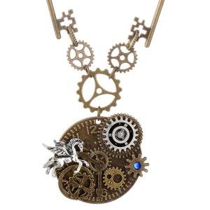 Rhinestone Pegasus Circle Gear Necklace -