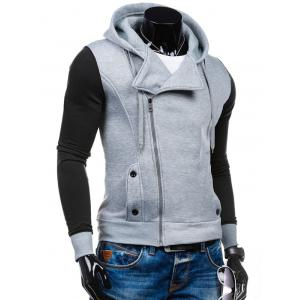 Side Zipper-Up Color Block Hoodie -