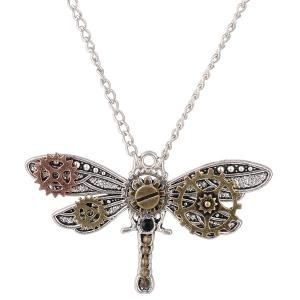 Alloy Dragonfly Circle Gear Necklace -