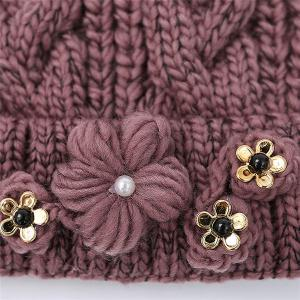 Flowers Fake Gem Knitted Hat -