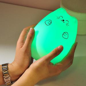 Touching Cat Cartoon USB Charging LED Ombre Night Light - WHITE
