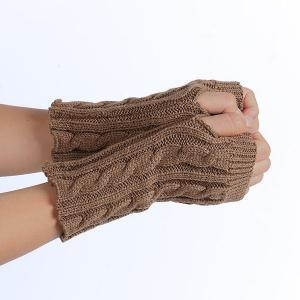 Winter Hemp Flowers Knitted Fingerless Gloves - KHAKI