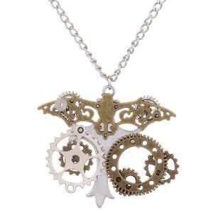 Circle Gear Skull Crucifix Halloween Necklace -