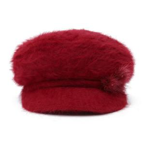 Faux Fur Flowers Knitted Angora Beret Hat -