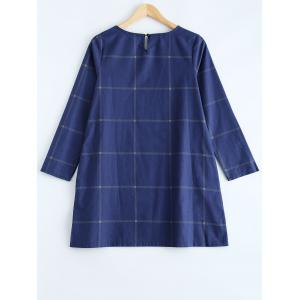 Loose Fitting A-Line Grid Print Dress - PURPLISH BLUE L