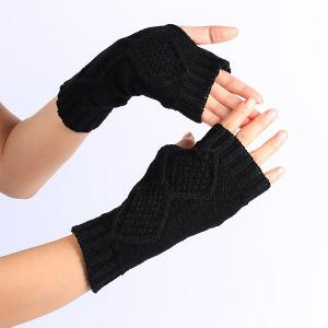 Winter Rhombus Knit Fingerless Gloves - BLACK