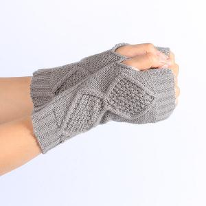 Winter Rhombus Knit Fingerless Gloves - LIGHT GRAY