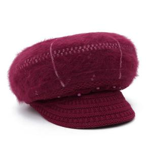 Winter Faux Pearl Knitted Newsboy Hat -
