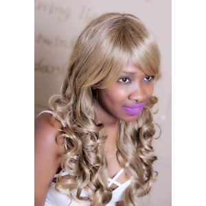 Adiors Long Oblique Bang Wavy Highlight Synthetic Wig -