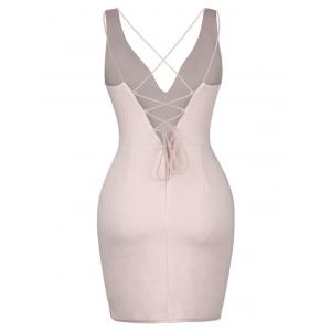 Backless Lace-Up Plung Tight Dresses - NUDE PINK M