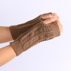 Pair of Stripy Crochet Fingerless Gloves -