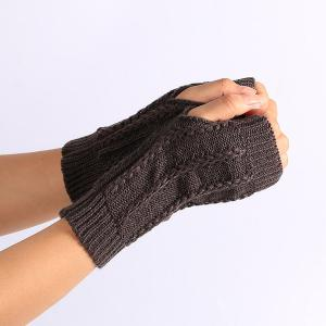 Pair of Stripy Crochet Fingerless Gloves - DEEP GRAY