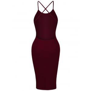Backless Criss Cross Spaghetti Strap Short Night Out Dress - WINE RED M