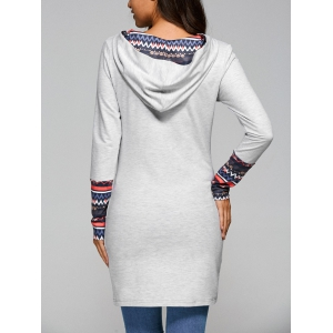 Tribal Print Long Sleeve Casual Dress With Pockets - LIGHT GRAY XL