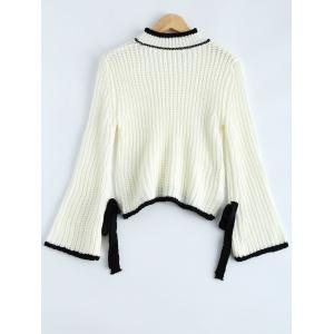 Bowknot Embellished Bell Sleeve Sweater -
