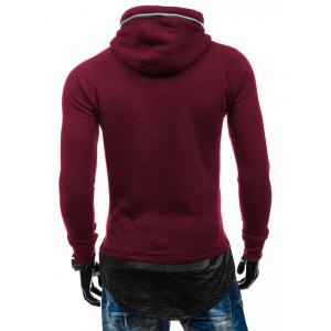 Zipper Embelllished PU Spliced Faux Twinset Hoodie - RED 2XL
