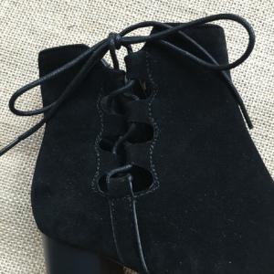 Lace-Up Hollow Out Chunky Heel Boots -
