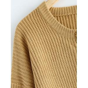 Lace Up Pullover Plus Size Sweater - KHAKI 5XL
