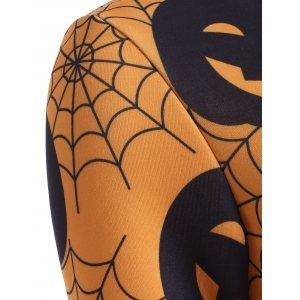 Halloween Pumpkin Lantern Print Swing Dress -