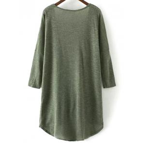 Low Cut Long Sleeve Surplice T-Shirt - ARMY GREEN L