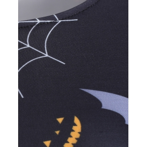 Halloween Pumpkin Bat Print Swing Dress - BLACK XL