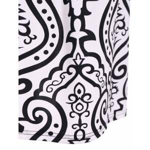 Autumn Arab Print High Waist Surplice Dress -