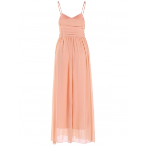 Lace Up Spaghetti Strap Chiffon Maxi Bridesmaid Dress - PASTER ORANGE XL