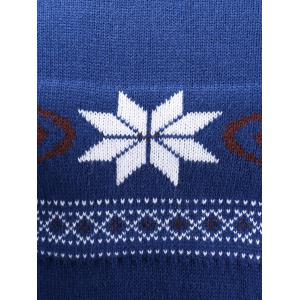 V-Neck Snowflake Sweater - BLUE XL