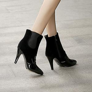 Elastic Band Spliced Pointed Toe Ankle Shoes - BLACK 39