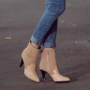 Elastic Band Spliced Pointed Toe Ankle Shoes - APRICOT 37