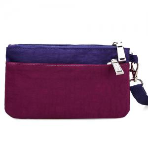 Metal Color Spliced Zippers Clutch Bag -