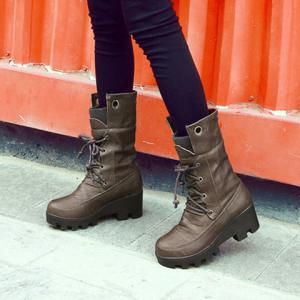 Wedge Tie Up Mid Calf Boots -