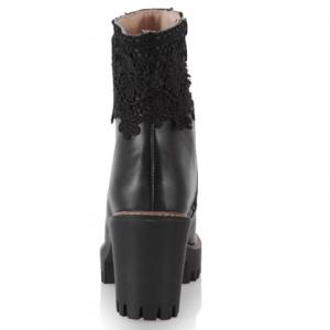 Chunky Heel Beaded Lace Spliced Ankle Boots - BLACK 39