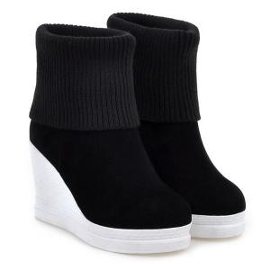 Fold Over Wedge Suede Knit Sweater Ankle Boots - BLACK 39