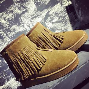 Slip On Suede Ankle Boots - BROWN 39