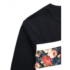 Round Neck Floral Print Long Sleeve T-Shirt - GREEN L