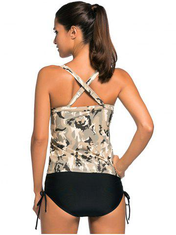 Chic Criss Back Padded Camouflage Tankini Swimsuits - S COLORMIX Mobile