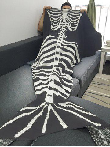 Sale Good Quality Fish Skeleton Wrap Men Halloween Mermaid Blanket - GREY AND WHITE  Mobile