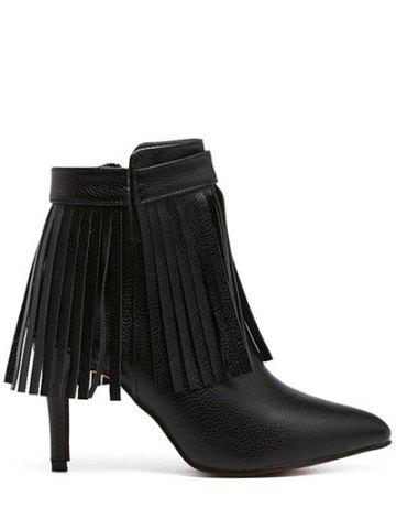Shops Zipper Fringe Pointed Toe Ankle Boots