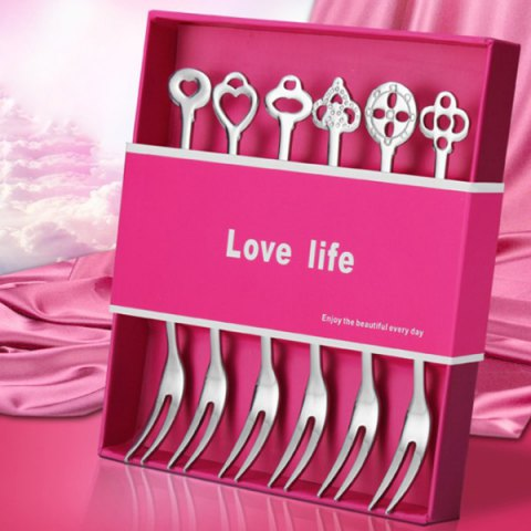 Unique 6Pcs Ecofriendly Stainless Steel Moon Cake Dessert Fruit Fork Set