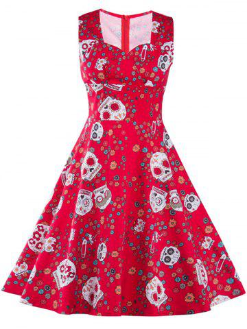 Outfits Vintage Skull Print Dress RED 2XL