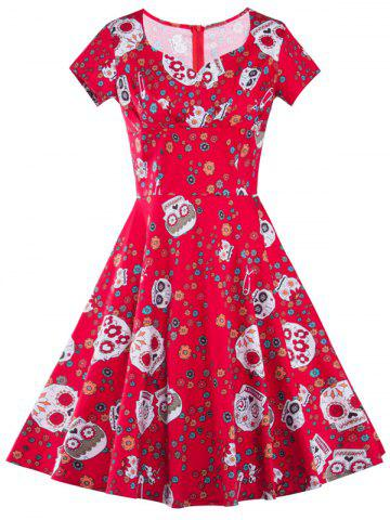 Online High Waist Skull Print Vintage Dress RED 2XL