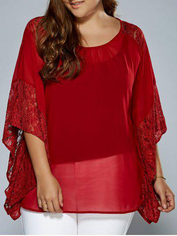 Outfit Plus Size Batwing Sleeve Lace Trim Blouse