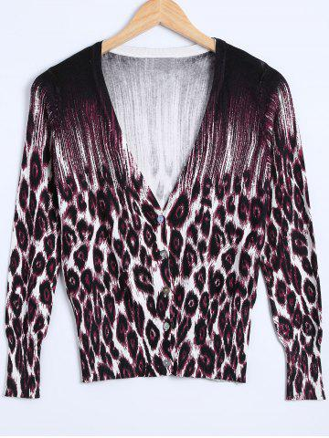 Unique Leopard Printed Knitted Cardigan