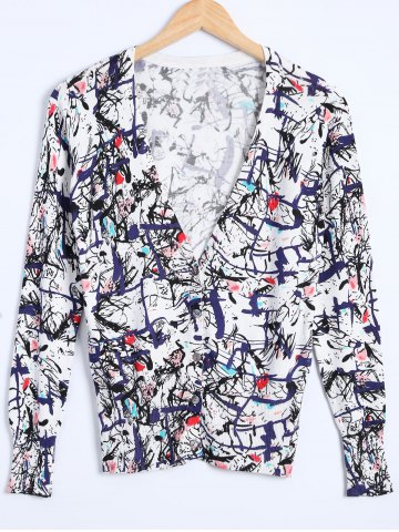 Fashion Buttoned Printed Knitted Cardigan