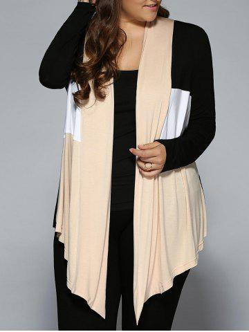 Plus Size Open Front Asymmetrical Cardigan - White + Black + Yellow - 2xl